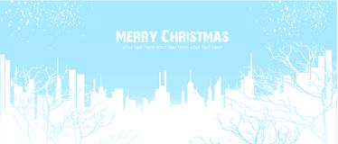 Winter. Vector abctract christmas city and cnow Stock Photos