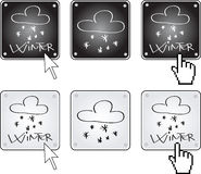 Winter. Pack of weather buttons - winter Royalty Free Stock Photography