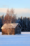 Winter. Old barn in cold winter Stock Photo