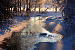 Winter. Beautiful river that flows in winter Royalty Free Stock Image