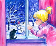 Winter. Little girl and her cat looking at the snow and snowman in garden.Picture I have created with watercolors Stock Image