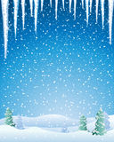 Winter. An illustration of a cold winter landscape with snow capped fir trees icicles and a night sky Stock Images