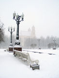 Winter. Blizzard in square of Vilnius, Lithuania Royalty Free Stock Photo