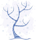 Winter. Tree with snowflakes and the stars Stock Photo