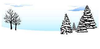Winter. Frosty winter forest vector background Stock Photos