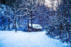 Winter abandoned hut landscape royalty free stock photo