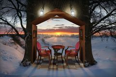 Winter-Abend Stockfoto