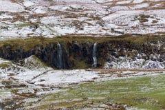 Winter-Abhang-heller Schnee u. Wasser u. Fälle Lizenzfreie Stockbilder