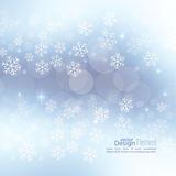 Winter abstract background. Gentle soft winter abstract background with falling scatter snowflakes, ice crystals and sparkles, glint, twinkle. Elegant blurry royalty free illustration