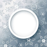 Winter abstract background grey with snowflakes. Winter background abstract grey with 3d snowflakes, trendy round frame. Christmas and New Year celebratory card Stock Photography
