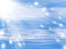 Winter abstract background with snow , snowflakes and stars. Probably Santa in a hurry . Positive  winter background with track Santa hurrying for Christmas./ Royalty Free Stock Photo