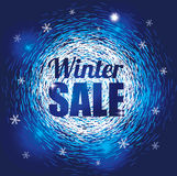 Winter Abstract Background with Snowflakes for Sale. Seasonal Discount Banner stock illustration