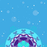 Winter abstract background with snowflakes, vector. Winter abstract background with delicate snowflakes. Top empty space for Your text. Vector image Stock Photo