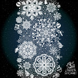 Winter abstract lace from snowflakes. The abstract lace strip for decoration. Winter theme, holidays. Template frame design for card. Lace Doily. Can be used Stock Photos