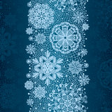 Winter abstract lace from snowflakes. The abstract lace strip for decoration. Winter theme, holidays. Template frame design for card. Lace Doily. Can be used Stock Image