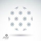 Winter abstract round object with beautiful snowflakes – weath Royalty Free Stock Photo