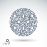 Winter abstract round object with beautiful snowflakes, vector w Stock Photography