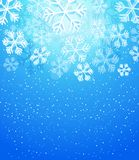 Winter abstract snowflake background in blue. Illustration of Winter abstract snowflake background in blue Royalty Free Stock Photo