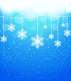 Winter abstract snowflake background in blue Stock Photos