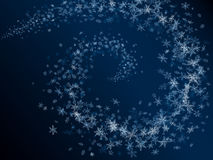 Winter abstract snowflakes card. Vector abstract background of snowflakes spiral snowstorm in dark blue night (16 different types of snowflakes Royalty Free Stock Photography