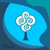 Winter. Abstract winter tree over blue background Royalty Free Stock Image