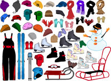 Winter Accessories. Clothing and sports equipment stock illustration