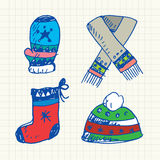 Winter accessories doodles set Royalty Free Stock Photo