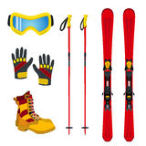 Winter accessories for extreme sports - ski, gloves, boots. Flat Stock Photography