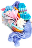 Winter accessory collection. Hat, scarf and mittens in the conta Royalty Free Stock Photos