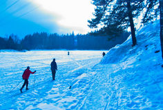 Winter activities. On a lake in Finland, sunday skiing and outdoors relaxing stock photo