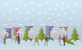 Winter activities, christmas time concept vector illustration in flat style. Snowy street, city life. People playing snowballs, making snowman, buying Stock Photos