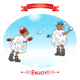 Winter activities. Lambs play in snowballs. EPS,JPG. Winter activities. Lambs play in snowballs. Winter poster. Poster, card with sheeps on a winter snow Royalty Free Stock Images