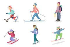 Winter activities set. People skiing and snowboarding, ice skating and hiking Royalty Free Stock Photography