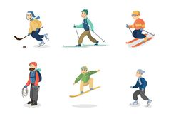 Winter activities set. People skiing and snowboarding, ice skating and hiking Stock Photos
