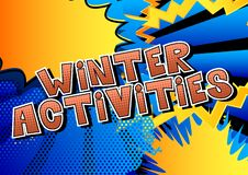 Winter Activities - Comic book style words. stock illustration