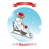 Winter activities. Winter sport. EPS,JPG. Winter activities. Winter sport. Lamb rolls sledding from a hill. Lamb in red hat and mittens.Winter poster. Poster Royalty Free Stock Images
