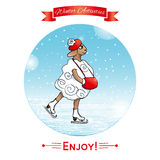 Winter activities, winter sport. EPS,JPG. Winter activities, winter sport. Lamb skates, ice-skates. Winter poster. Poster, card with sheeps on a winter snow Royalty Free Stock Photography