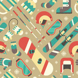 Winter Activity and Accessories Seamless Pattern Stock Photos