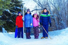 Winter activity for children royalty free stock images