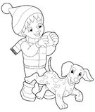 Winter activity - coloring page Stock Image