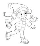 Winter activity - coloring page Royalty Free Stock Photos