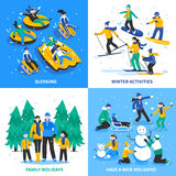 Winter Activity 2x2 Design Concept. With happy kids and parents skiing sledging skating flat vector illustration Stock Photo