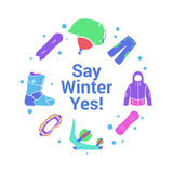 Winter activity and equipment flat icons on circle background. Snowboard jacket, board, helmet, boot, mask and pants web Royalty Free Stock Images