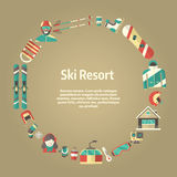 Winter Activity Flat Icons Circle Shape Text Template. Winter concept background. Winter activity flat vector icons in circle form. Sports, fun and leisure Stock Photography
