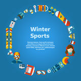 Winter Activity Flat Icons Circle Shape Text Template. Winter concept background. Winter activity flat vector icons in circle form. Sports, fun and leisure Stock Images