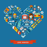 Winter Activity Flat Icons Heart Shape. Winter activity flat icon in heart shape. Love winter concept banner template. WInter sports pictogram collection. Winter Stock Photo