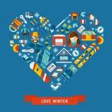 Winter Activity Flat Icons Heart Shape Stock Photo