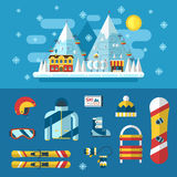 Winter Activity Flat Icons Heart Shape. Winter activity flat icon in heart shape. Love winter concept banner template. WInter sports pictogram collection. Winter Royalty Free Stock Photo