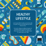 Winter Activity Flat Icons Square Shape Text Template. Winter healthy lifestyle concept background. Winter activity flat vector icons in circle form. Sports, fun Stock Photos