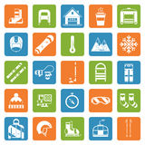Winter Activity Games and Fun Outline Icon Set Royalty Free Stock Photos